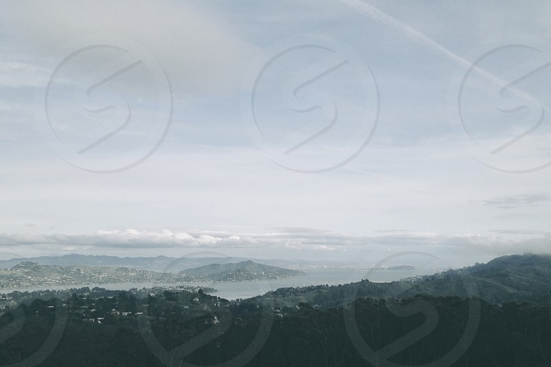 aerial view of foggy mountain photo