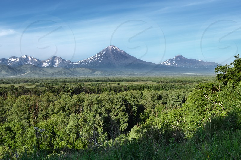 Kamchatka Peninsula summer landscape: beautiful view of Avachinsky-Koryaksky Group of Volcanoes green forest and blue sky on sunny day. Kamchatka Region Russian Far East Eurasia. photo