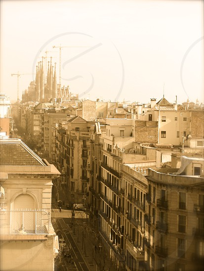 View of Barcelona (Spain) (Edited with old/antique effect)  photo