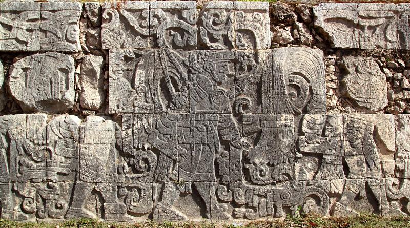 Chichen Itza hieroglyphics mayan pok ta pok ball court Mexico photo