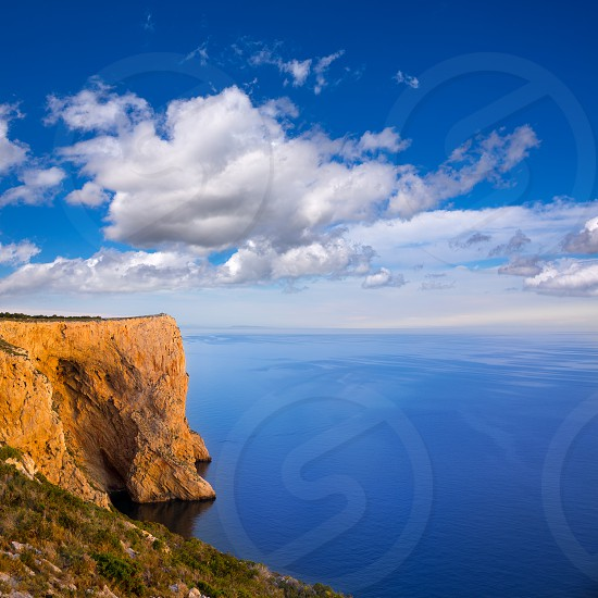 san  Antonio Cape high angle view of Mediterranean blue Sea in Denia Javea photo