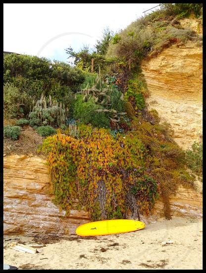 Surfboard on the beach in Malibu photo