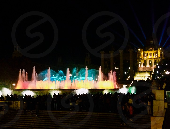 This is in Barcelona - Montjuïc where people will gather together and see the dancing fountain following by musics.  photo