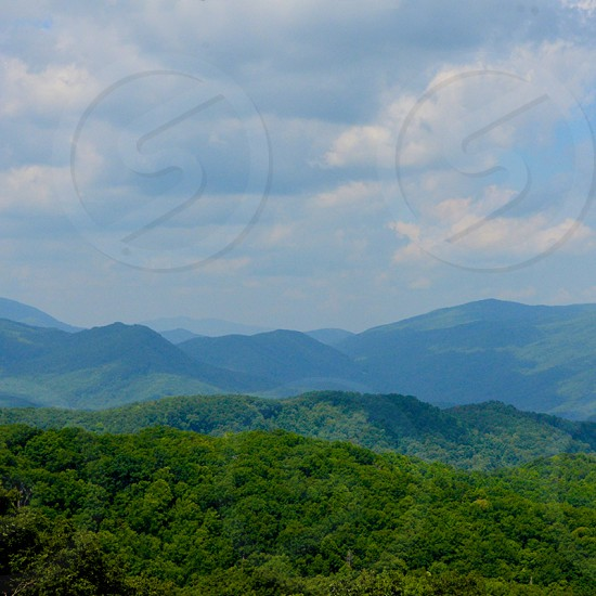 Tennessee Mountains Smokey Mountains Tree Tops Landscape Cloudy Sky Vast Distance photo