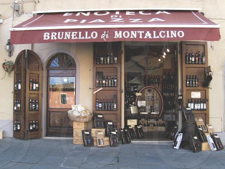 A store in Montalcino Italy selling Brunello wine photo