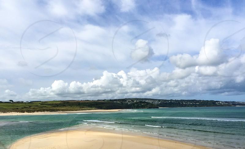 Cornwall coastal waves sand Sky  photo