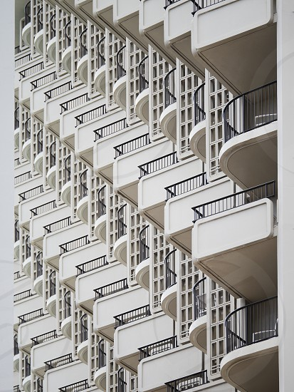 Hotel rooms balconies urban city architecture architectural shapes abstract photo