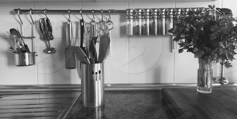 stainless steel rack with kitchen utensils and condiment shakers photo