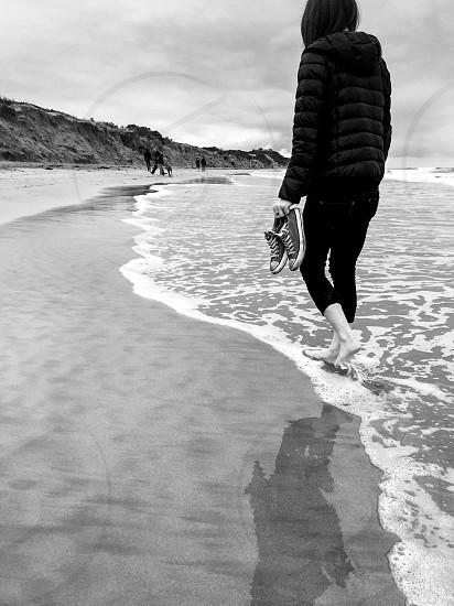 Relax-walking-beach-ocean-black and white  photo