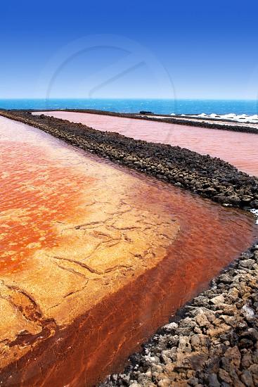 La Palma Salinas de fuencaliente red saltworks in Canary Islands photo