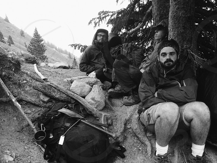 people with camping gear sitting on hill near trees photo