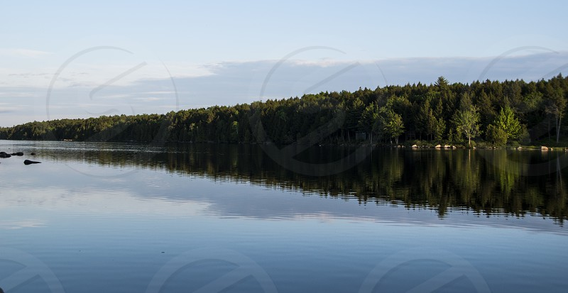 The beautiful sunny side of Nicatous Lake reflected across the water. photo