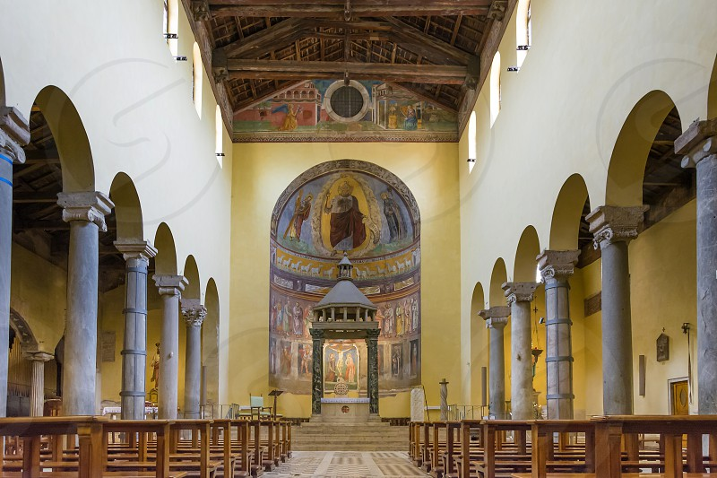 San Saba is an ancient basilica church in Rome Italy. It lies on the so-called Piccolo Aventino which is an area close to the ancient Aurelian Walls next to the Aventine Hill and Caelian Hill. photo