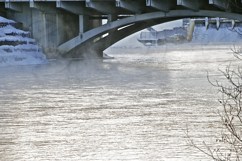 A bridge over the Mississippi in the frigid north photo