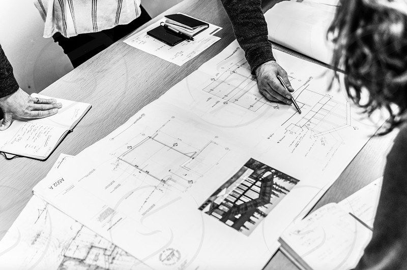 Local architecture firm begins planning out and discussing their strategy photo