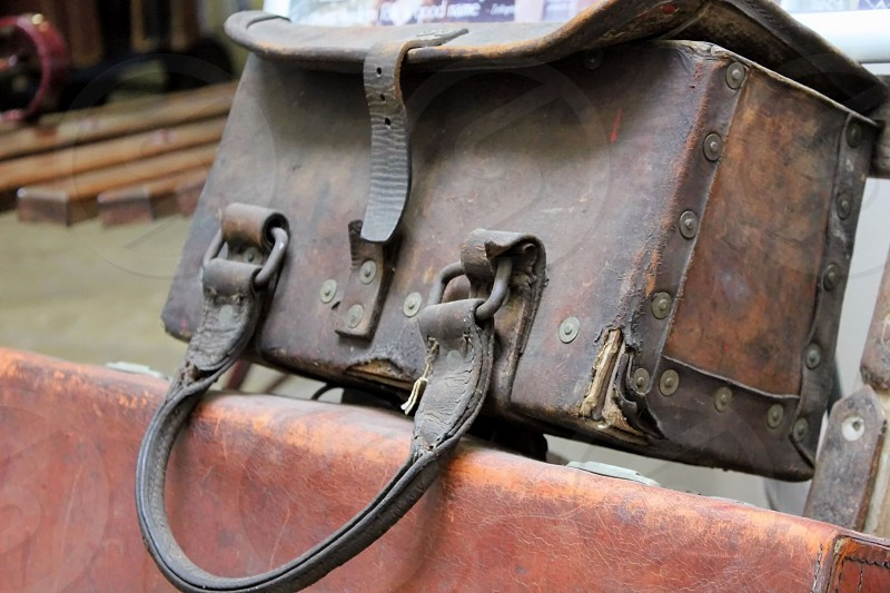 The old suitcase from the film 'Brief Encounter' on the location of Carnforth Railway Station. photo