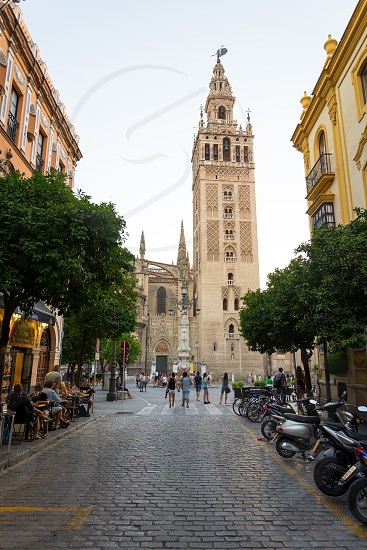 Spanish Renaissance-style minaret topped by a Gothic & baroque tower Giralda in Seville Spain photo