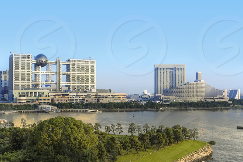 View of the bay of Odaiba with daiba parkmall and hotels. photo