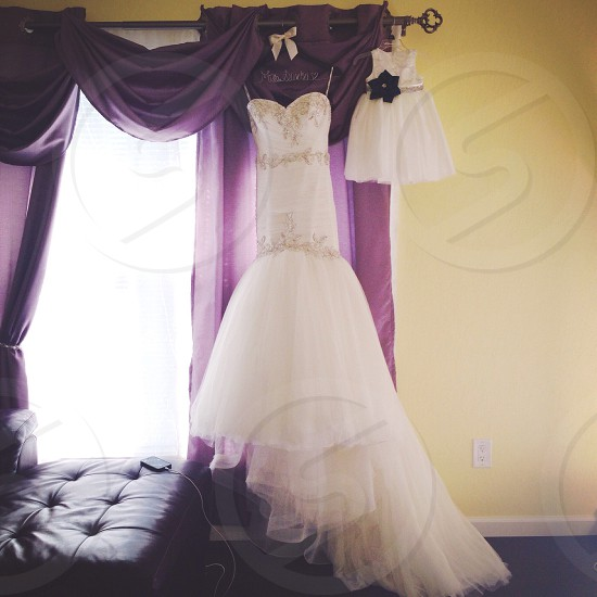 white and beige sweetheart neckline gown photo