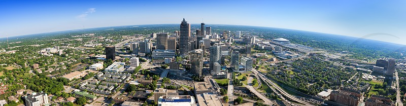 Panoramic of the city of Atlanta from the top of Bank of America Plaza--the tallest building in the Southeastern United States. photo