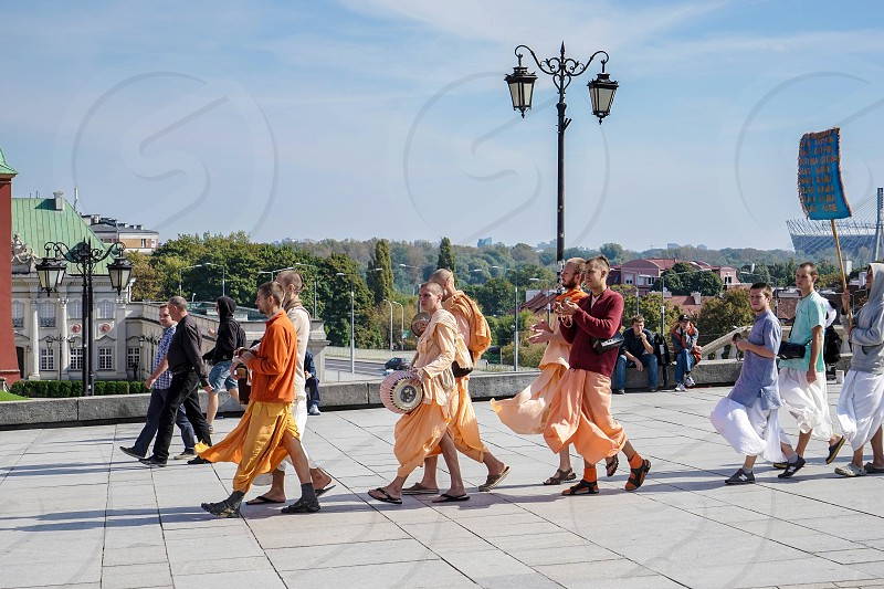 Buddhists Marching in the Old Market Square in Warsaw photo
