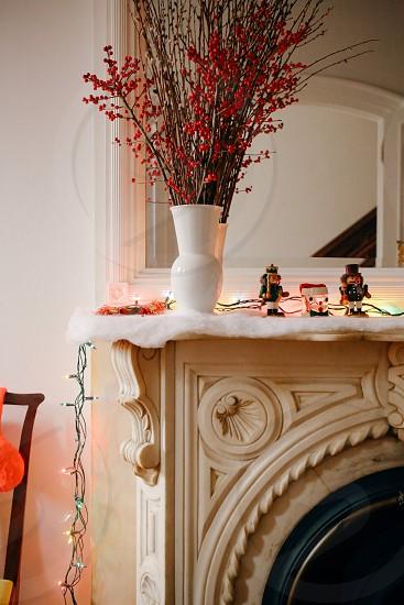 white ceramic flower vase photo