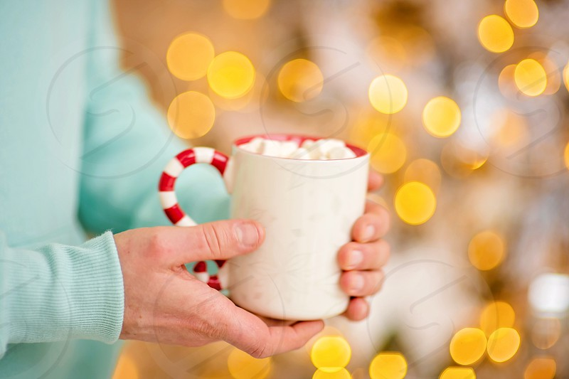 cup of coffee in a cozy festive Christmas atmosphere photo