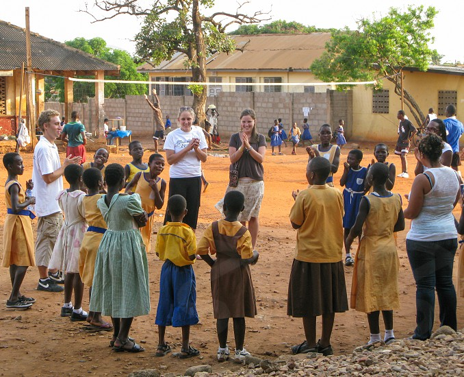 American teens teaching at a school in Ghana. I DO NOT have model releases for these images and they must be used in an editorial setting photo
