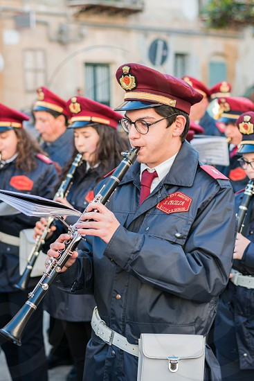 Musical band play to celebrate easter as a tradition in the procession of easter Sunday. photo