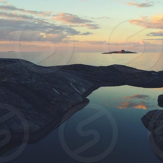 lake mountain aerial view photo