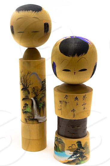 Vintage japanese wooden dolls kokeshi photo
