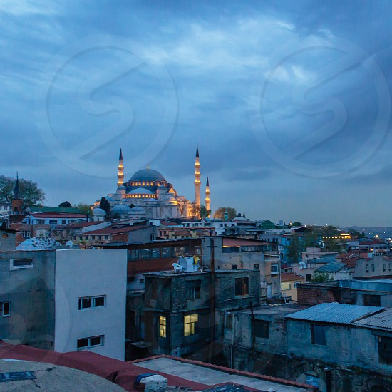View over to Suleymaniye Mosque in Istanbul at dusk photo