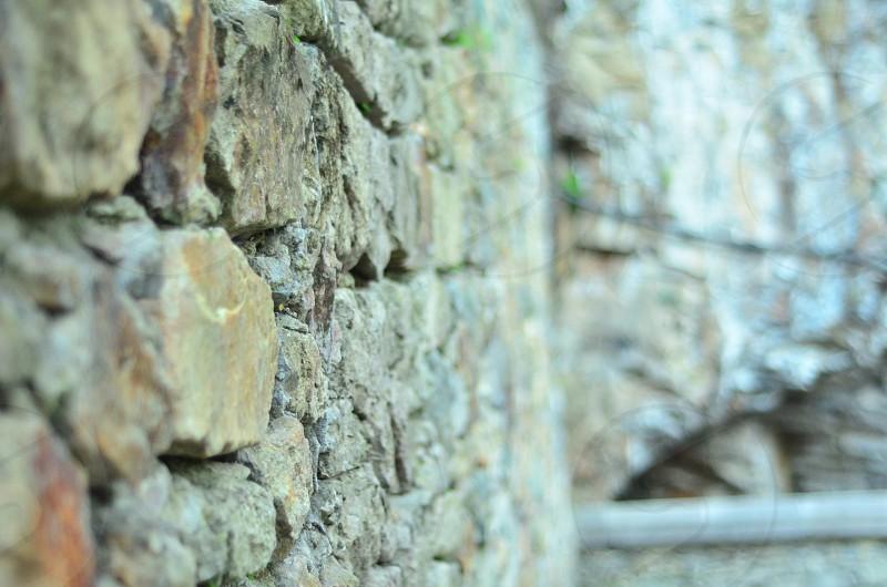 Ancient stone wall in sumela monastry photo