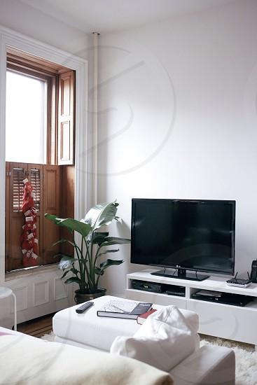 black flatscreen tv photo