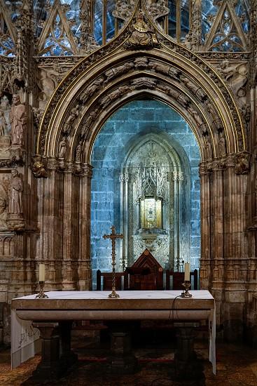 VALENCIA SPAIN - FEBRUARY 27 : The Holy Grail Chalice in the Cathedral in Valencia Spain on February 27 2019 photo