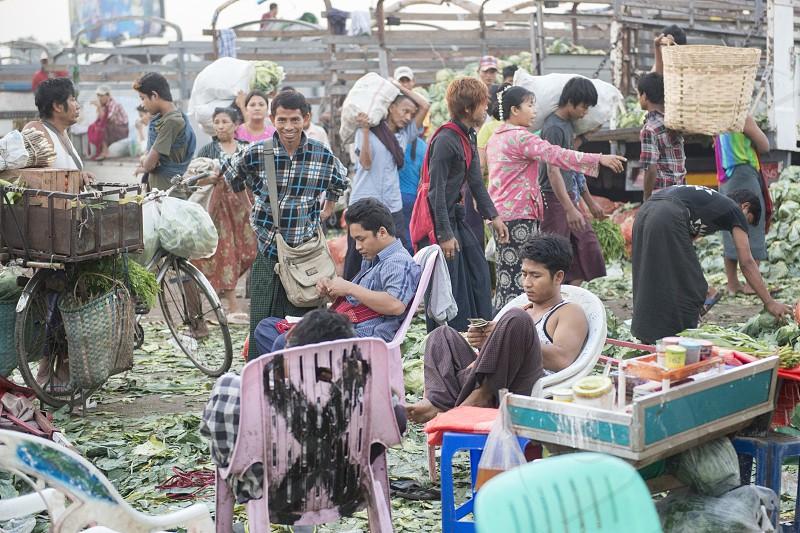 a fegetable market in a Market near the City of Yangon in Myanmar in Southeastasia. photo