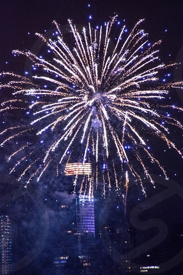 fireworks building blue white photo