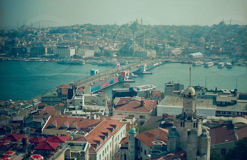 middle east bridge mosques minarets sea port orient photo