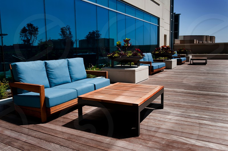 Outdoor patio with furniture photo