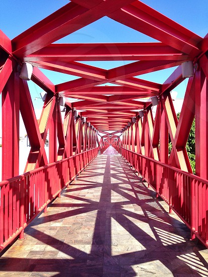 red metal bridge photo