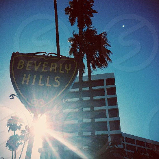 beverly hills road sign and building photo