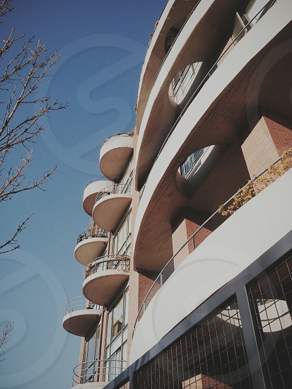 Buenos Aires architecture round brickbuilding balcony photo