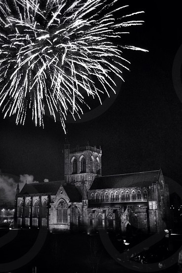 Paisley abbey Scotland church fireworks November 5th black and white B&W  photo