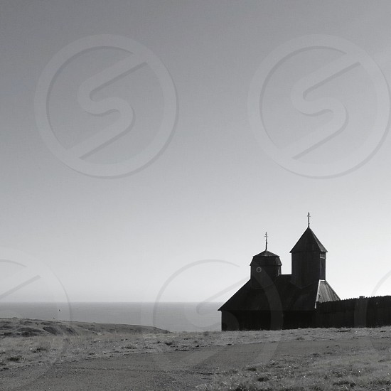grey scale image of church photo