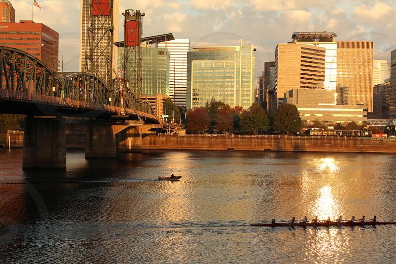 Portland Oregon boat dragon boat rowboat team morning workout sunrise urban photo