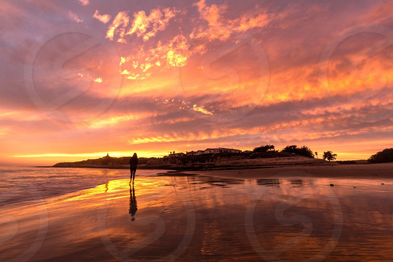 Beach sunset Sky reflection ocean California coast clouds photo