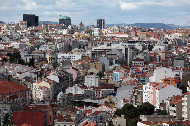 a view in the city centre of Baixa in the city centre of Lisbon in Portugal in Europe. photo