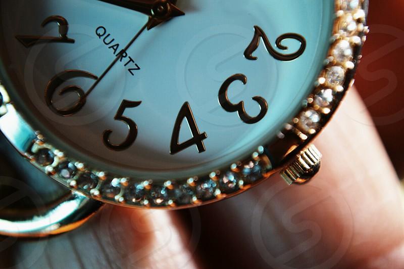 diamond encrusted wrist watch photo