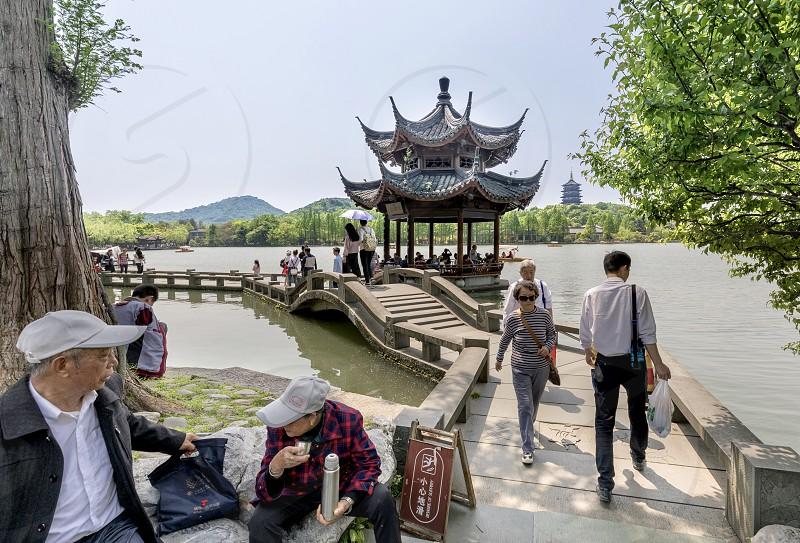 China Hangzhou West Lake bridge Pavillon  photo