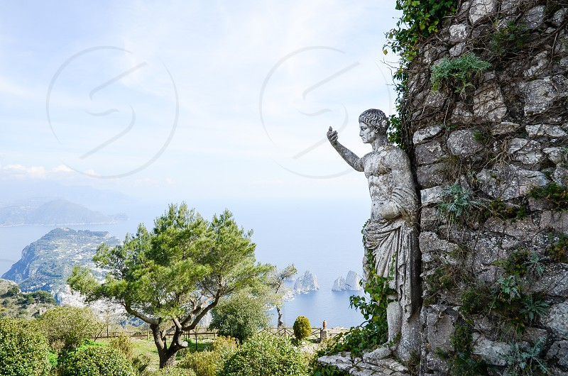 Figure on the Top of Monte Solaro Capri Island and Sorrento Peninsula  ( Italy ) photo